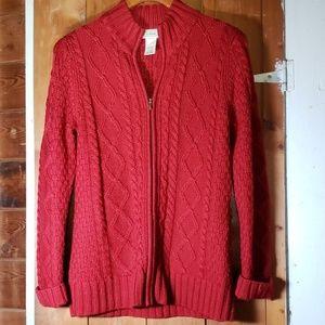 Red LL Bean Zip Sweater